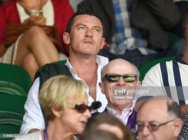 Luke Evans attends the Maria Sharapova v Johanna Konta match on day one of the Wimbledon Tennis Championships on June 29 2015 in London England