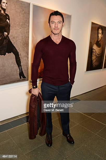 Luke Evans attends the Pringle of Scotland Fully Fashioned Exhibition and Autumn/Winter 2015 Womenswear Runway Show at The Serpentine Gallery on...