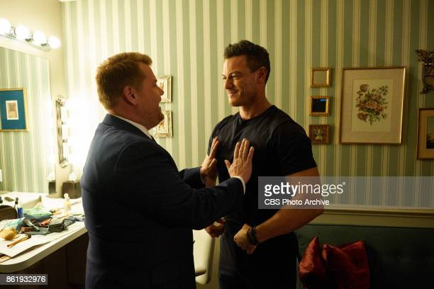 Luke Evans chats in the green room with James Corden during 'The Late Late Show with James Corden' Thursday October 12 2017 On The CBS Television...