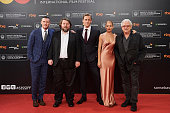 Luke Evans director Ben Wheatley Tom Hiddleston Sienna Miller and producer Jeremy Thomas attend the 'HighRise' premiere at the Kursaal Palace during...