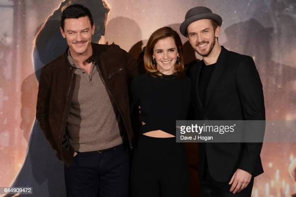 Luke Evans Emma Watson and Dan Stevens attend the photocall for 'Beauty And The Beast' at The Corinthia Hotel on February 24 2017 in London England