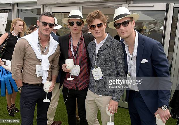 Luke Evans Jamie Campbell Bower Oliver Cheshire and Jack Fox attend as VIPs celebrate with Moet Ice Imperial in the Moet Chandon Suite whilst...