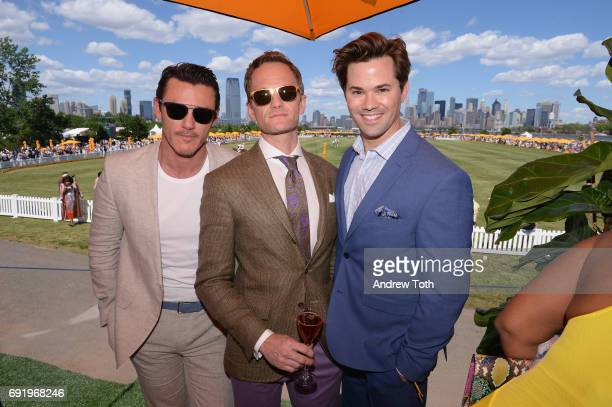 Luke Evans Neil Patrick Harris and Andrew Rannells attends The Tenth Annual Veuve Clicquot Polo Classic at Liberty State Park on June 3 2017 in...