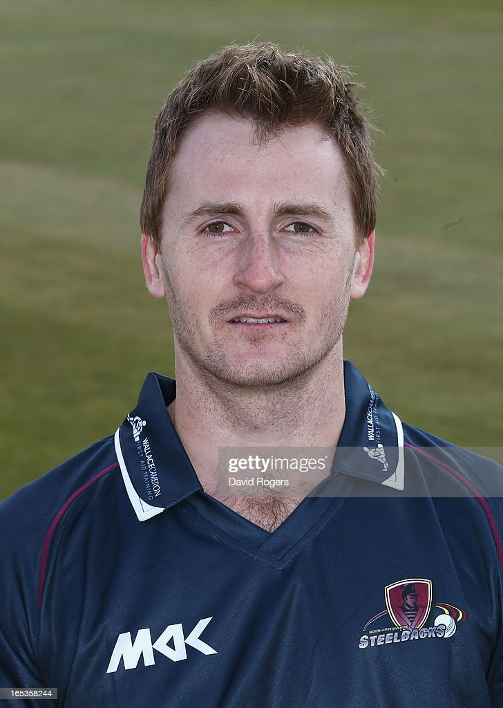 <a gi-track='captionPersonalityLinkClicked' href=/galleries/search?phrase=Luke+Evans+-+Cricket&family=editorial&specificpeople=7174818 ng-click='$event.stopPropagation()'>Luke Evans</a> of Northamptonshire CCC poses for a portrait wearing the T20 kit at the County Ground on April 3, 2013 in Northampton, England.