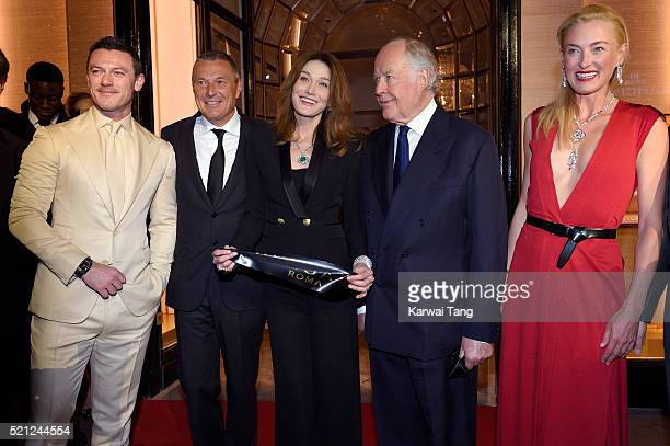 Luke Evans wearing a Bulgari watch Bulgari CEO Jean Christophe Babin Carla Bruni wearing Bulgari jewellery Nicola Bulgari and Princess Lilly Zu Sayn...
