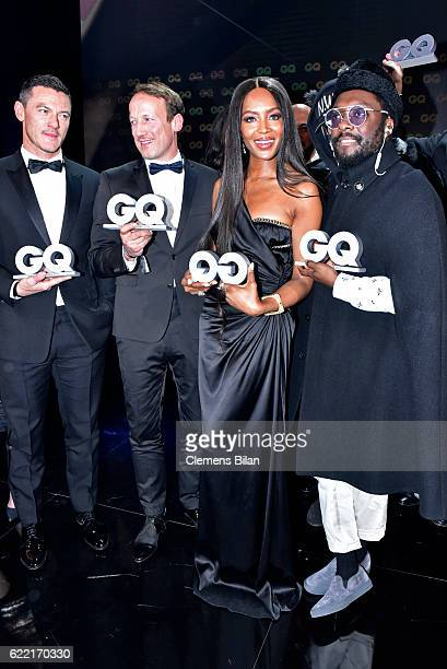Luke Evans Wotan Wilke Moehring Naomi Campbell and William are seen on stage at the GQ Men of the year Award 2016 show at Komische Oper on November...