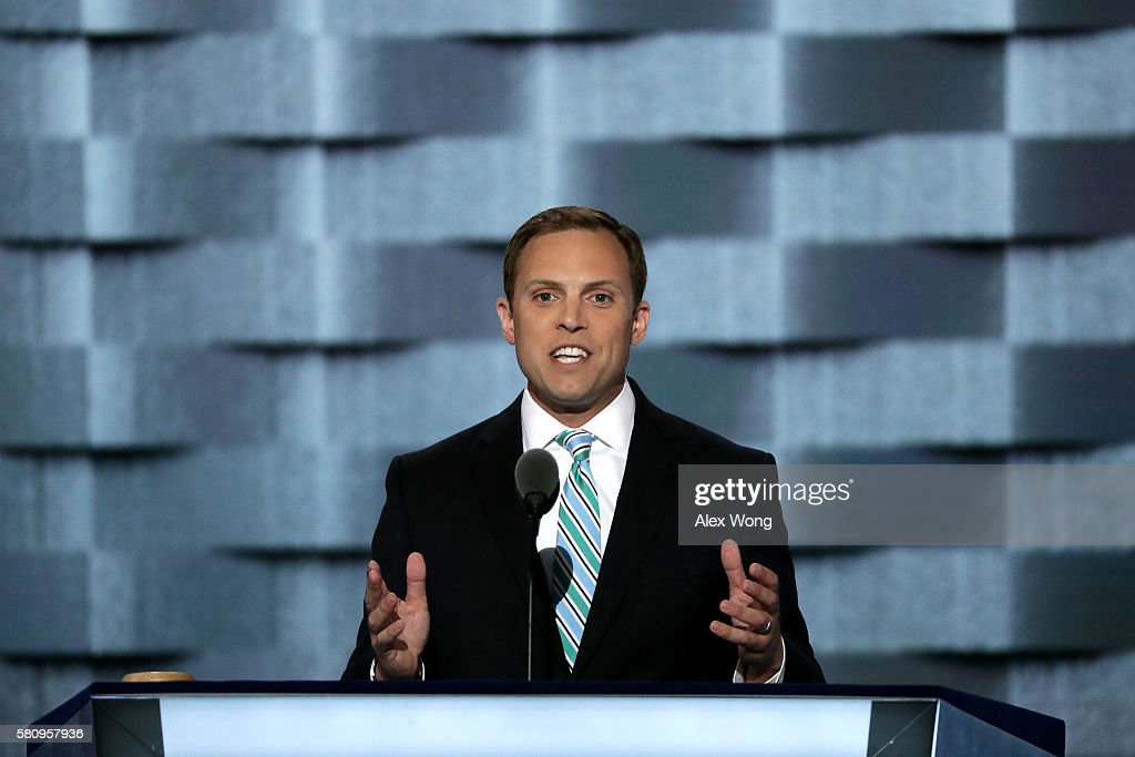 Luke Feeney mayor of Chillicothe Ohio delivers remarks on the first day of the Democratic National Convention at the Wells Fargo Center July 25 2016...