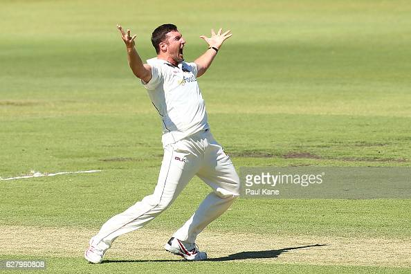 Luke Feldman of Queensland unsuccessfully appeals for the wicket of Cameron Bancroft of Western Australia during day two of the Sheffield Shield...