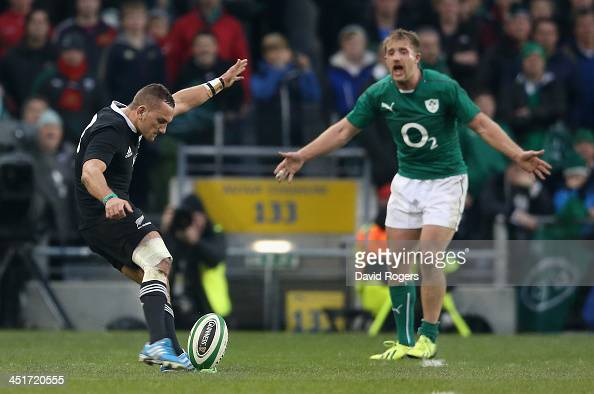 Luke Fitzgerald of Ireland rushes up to Aaron Cruden has he takes the first conversion which had to be retaken during the International match between...
