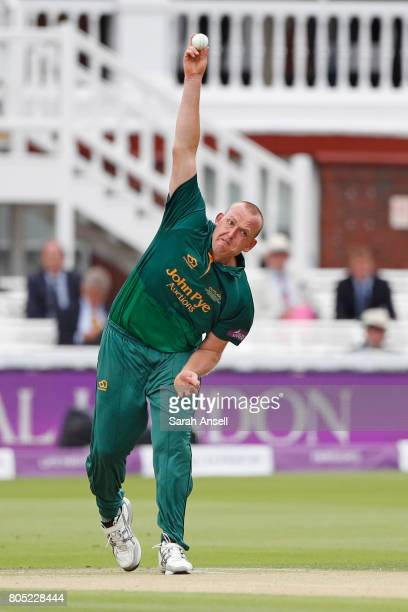 Luke Fletcher of Nottinghamshire bowls during the match between Nottinghamshire and Surrey at Lord's Cricket Ground on July 1 2017 in London England