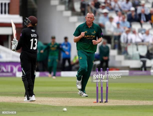 Luke Fletcher of Nottinghamshire celebrates after bowling Gareth Batty of Surrey during the match between Nottinghamshire and Surrey at Lord's...