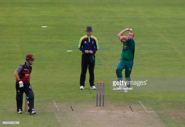 Luke Fletcher of Nottinghamshire Outlaws bowls during The Royal London OneDay Cup Play Off match between Somerset and Nottinghamshire Outlaws at The...