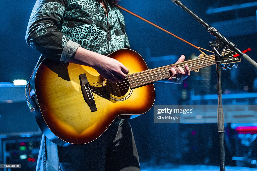 Luke Friend (guitar detail) performs on stage at The Vamps 'Last Night' single launch party at Shepherds Bush Empire on April 7, 2014 in London, United Kingdom.