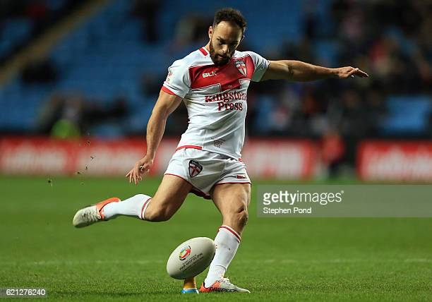 Luke Gale of England converts a try during the Four Nations match between the England and Scotland at The Ricoh Arena on November 5 2016 in Coventry...