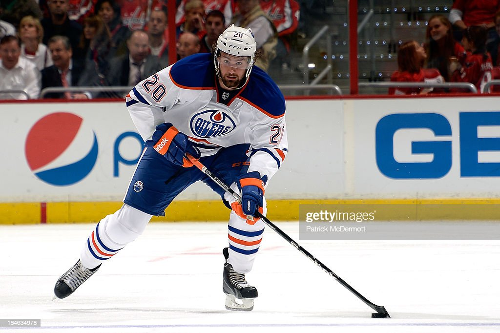 <a gi-track='captionPersonalityLinkClicked' href=/galleries/search?phrase=Luke+Gazdic&family=editorial&specificpeople=4754039 ng-click='$event.stopPropagation()'>Luke Gazdic</a> #20 of the Edmonton Oilers brings the puck up ice in the third period against the Washington Capitals during an NHL game at Verizon Center on October 14, 2013 in Washington, DC.