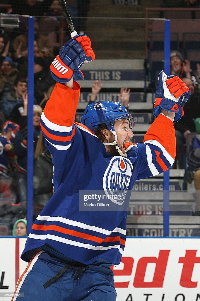 Luke Gazdic of the Edmonton Oilers celebrates after scoring a goal in a game against the Tampa Bay Lightning on January 5 2014 at Rexall Place in...