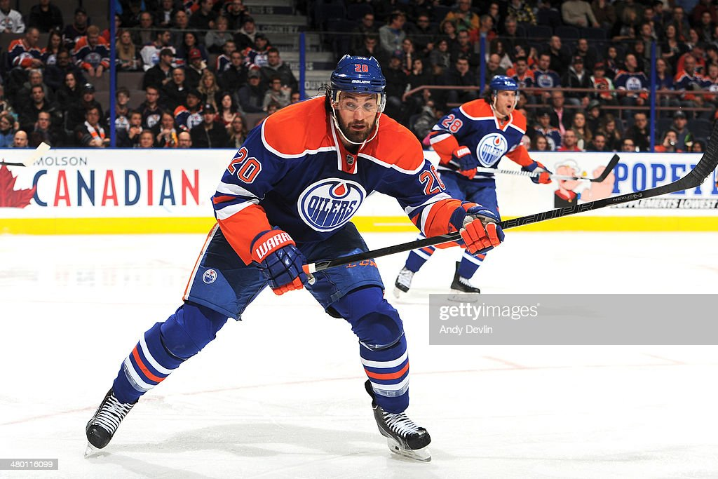 <a gi-track='captionPersonalityLinkClicked' href=/galleries/search?phrase=Luke+Gazdic&family=editorial&specificpeople=4754039 ng-click='$event.stopPropagation()'>Luke Gazdic</a> #20 of the Edmonton Oilers skates on the ice in a game against the Calgary Flames on March 22, 2014 at Rexall Place in Edmonton, Alberta, Canada.