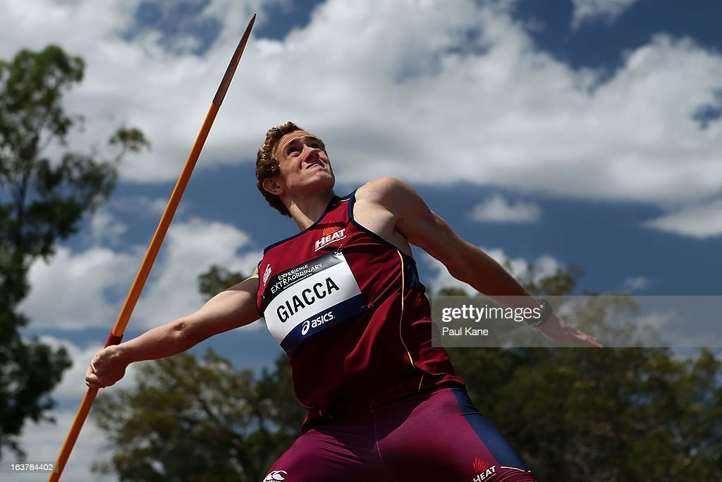 Luke Giacca of Queensland competes in the men's u16 javelin throw during day five of the Australian Junior Championships at the WA Athletics Stadium on March 16, 2013 in Perth, Australia.