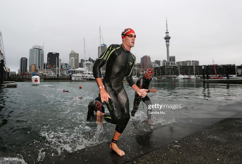 Luke Gillmer of Australia exits the water during the Ironman 70.3 Auckland triathlon on January 20, 2013 in Auckland, New Zealand.