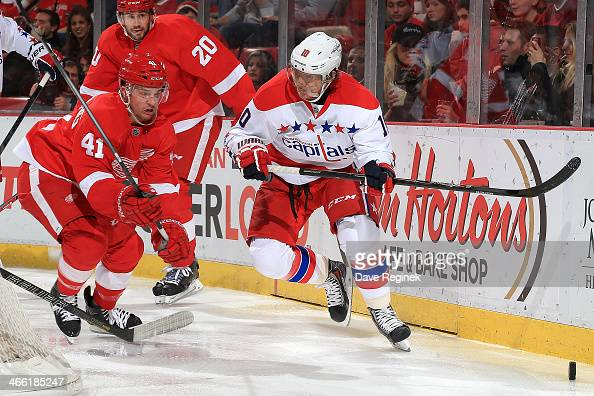 Luke Glendening of the Detroit Red Wings and Martin Erat of the Washington Capitals battle for the puck behind the net during an NHL game on January...