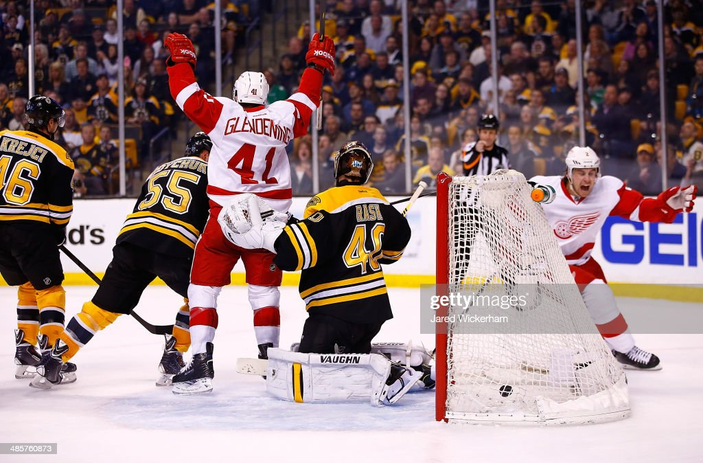 <a gi-track='captionPersonalityLinkClicked' href=/galleries/search?phrase=Luke+Glendening&family=editorial&specificpeople=5650380 ng-click='$event.stopPropagation()'>Luke Glendening</a> #41 of the Detroit Red Wings celebrates his goal in front of <a gi-track='captionPersonalityLinkClicked' href=/galleries/search?phrase=Tuukka+Rask&family=editorial&specificpeople=716723 ng-click='$event.stopPropagation()'>Tuukka Rask</a> #40 of the Boston Bruins in the second period during the game at TD Garden on April 20, 2014 in Boston, Massachusetts.
