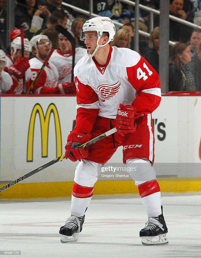 Luke Glendening #41 of the Detroit Red Wings skates against the Pittsburgh Penguins on April 9, 2014 at Consol Energy Center in Pittsburgh, Pennsylvania.
