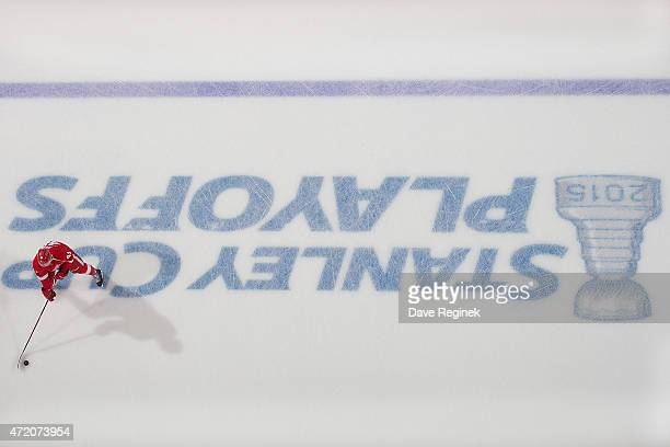 Luke Glendening of the Detroit Red Wings skates in warmups against the Tampa Bay Lightning before Game Six of the Eastern Conference Quarterfinals...