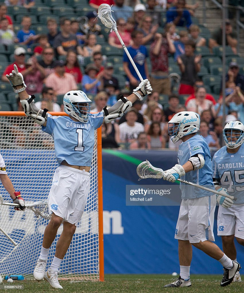 Luke Goldstock #1 of the North Carolina Tar Heels celebrates a goal with Patrick Kelly #2 against the Maryland Terrapins in the NCAA Division I Men's Lacrosse Championship at Lincoln Financial Field on May 30, 2016 in Philadelphia, Pennsylvania.