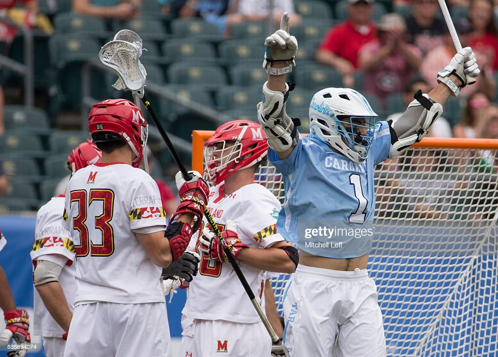 Luke Goldstock #1 of the North Carolina Tar Heels reacts in front of Matt Dunn #33 of the Maryland Terrapins after a goal in the NCAA Division I Men's Lacrosse Championship at Lincoln Financial Field on May 30, 2016 in Philadelphia, Pennsylvania.