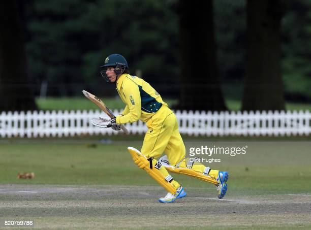Luke Goodman of Australia bats during the T20 INAS TriSeries against South Africa at Toft Cricket Club on July 18 2017 in Knutsford England