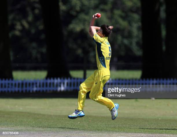 Luke Goodman of Australia during the T20 INAS TriSeries against England at Toft Cricket Club on July 18 2017 in Knutsford England