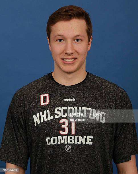 Luke Green poses for a headshot at the 2016 NHL Combine on June 2 2016 at Harborcenter in Buffalo New York