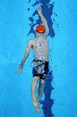 Luke Greenbank of Great Britain competes in the Men's 100m Backstroke heats during day eleven of the Baku 2015 European Games at the Baku Aquatics...