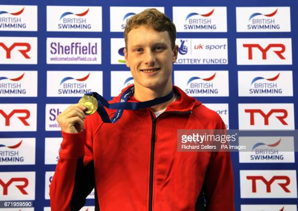 Luke Greenbank poses with his gold medal after winning The Men's 200 Metre Backstroke during day six of the 2017 British Swimming Championships at...