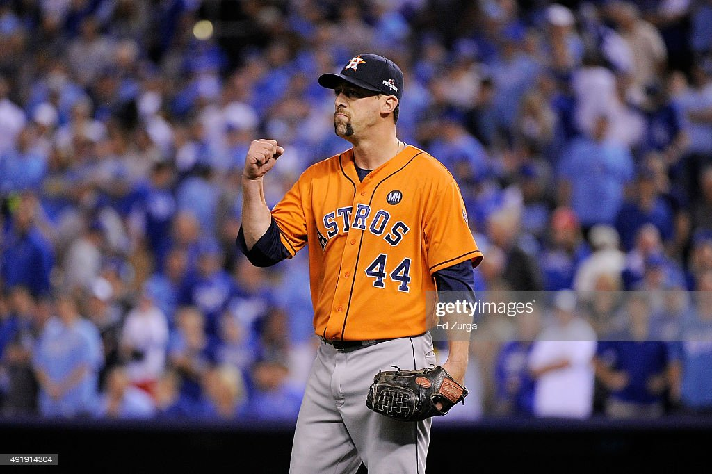 Luke Gregerson #44 of the Houston Astros celebrates defeating the Kansas City Royals in game one of the American League Division Series at Kauffman Stadium on October 8, 2015 in Kansas City, Missouri. The Houston Astros defeat the Kansas City Royals with a score of 5 to 2.
