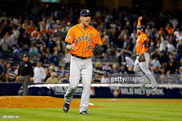Luke Gregerson of the Houston Astros celebrates defeating the New York Yankees in the American League Wild Card Game at Yankee Stadium on October 6...