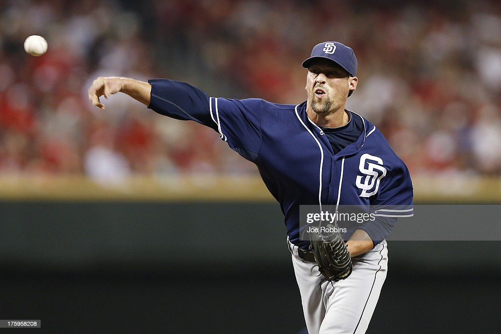 <a gi-track='captionPersonalityLinkClicked' href=/galleries/search?phrase=Luke+Gregerson&family=editorial&specificpeople=5798819 ng-click='$event.stopPropagation()'>Luke Gregerson</a> #57 of the San Diego Padres pitches in the eighth inning against the Cincinnati Reds at Great American Ball Park on August 10, 2013 in Cincinnati, Ohio. The Padres defeated the Reds 3-1.