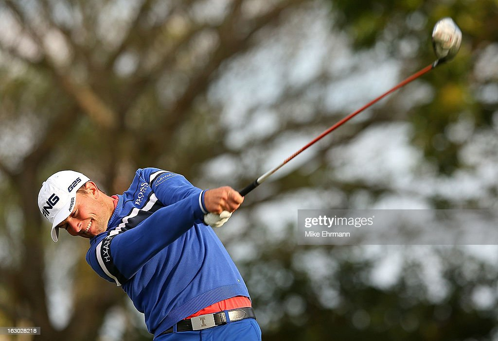 Luke Guthrie hits his tee shot on the 14th hole during the final round of the Honda Classic at PGA National Resort and Spa on March 3, 2013 in Palm Beach Gardens, Florida.