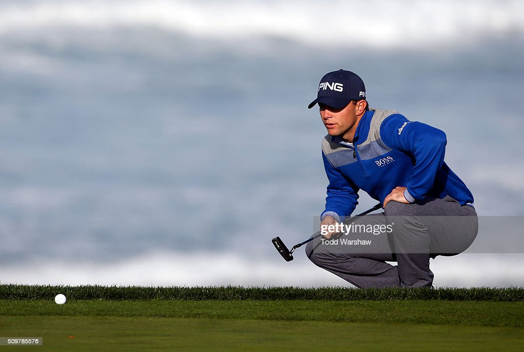 <a gi-track='captionPersonalityLinkClicked' href=/galleries/search?phrase=Luke+Guthrie&family=editorial&specificpeople=9474478 ng-click='$event.stopPropagation()'>Luke Guthrie</a> lines up a putt on the 10th green during the second round of the AT&T Pebble Beach National Pro-Am at the Pebble Beach Golf Links on February 12, 2016 in Pebble Beach, California.