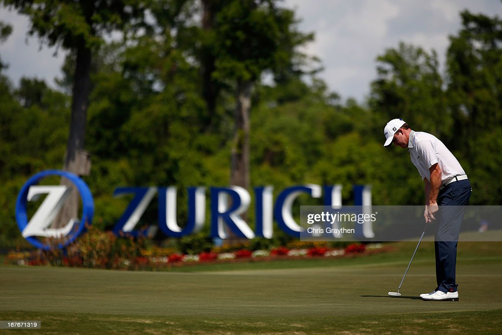 Luke Guthrie makes a putt on the 17th green during the third round of the Zurich Classic of New Orleans at TPC Louisiana on April 27, 2013 in Avondale, Louisiana.