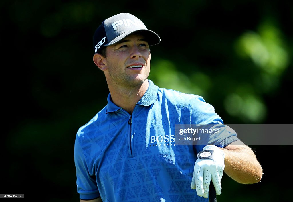 <a gi-track='captionPersonalityLinkClicked' href=/galleries/search?phrase=Luke+Guthrie&family=editorial&specificpeople=9474478 ng-click='$event.stopPropagation()'>Luke Guthrie</a> plays his shot from the 13th tee during the first round of the Travelers Championship at TPC River Highlands on June 25, 2015 in Cromwell, Connecticut.