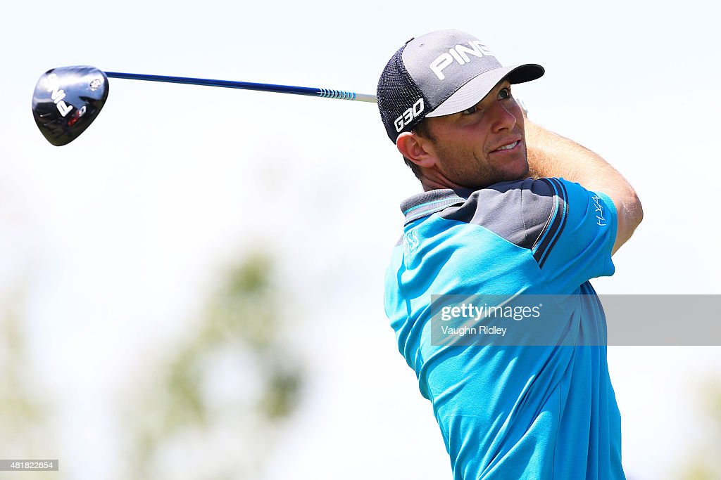 Luke Guthrie plays his shot from the 18th tee during round two of the RBC Canadian Open on July 24, 2015 at Glen Abbey Golf Club in Oakville, Canada.