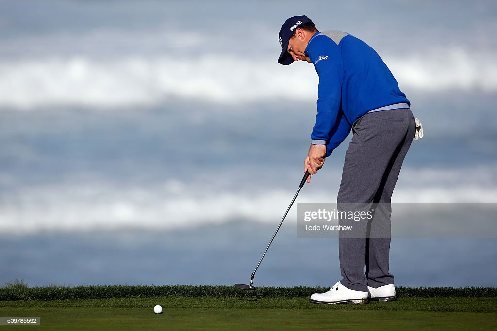 <a gi-track='captionPersonalityLinkClicked' href=/galleries/search?phrase=Luke+Guthrie&family=editorial&specificpeople=9474478 ng-click='$event.stopPropagation()'>Luke Guthrie</a> putts on the 10th green during the second round of the AT&T Pebble Beach National Pro-Am at the Pebble Beach Golf Links on February 12, 2016 in Pebble Beach, California.