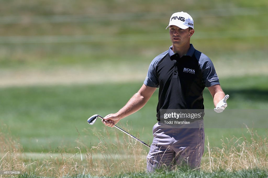Luke Guthrie reacts to a shot on the second hole during the third round of the Greenbrier Classic at the Old White TPC on July 5, 2014 in White Sulphur Springs, West Virginia.