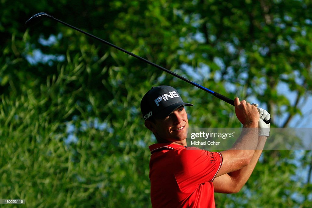 Luke Guthrie tees off on the 14th hole during the second round of the John Deere Classic held at TPC Deere Run on July 10, 2015 in Silvis, Illinois.