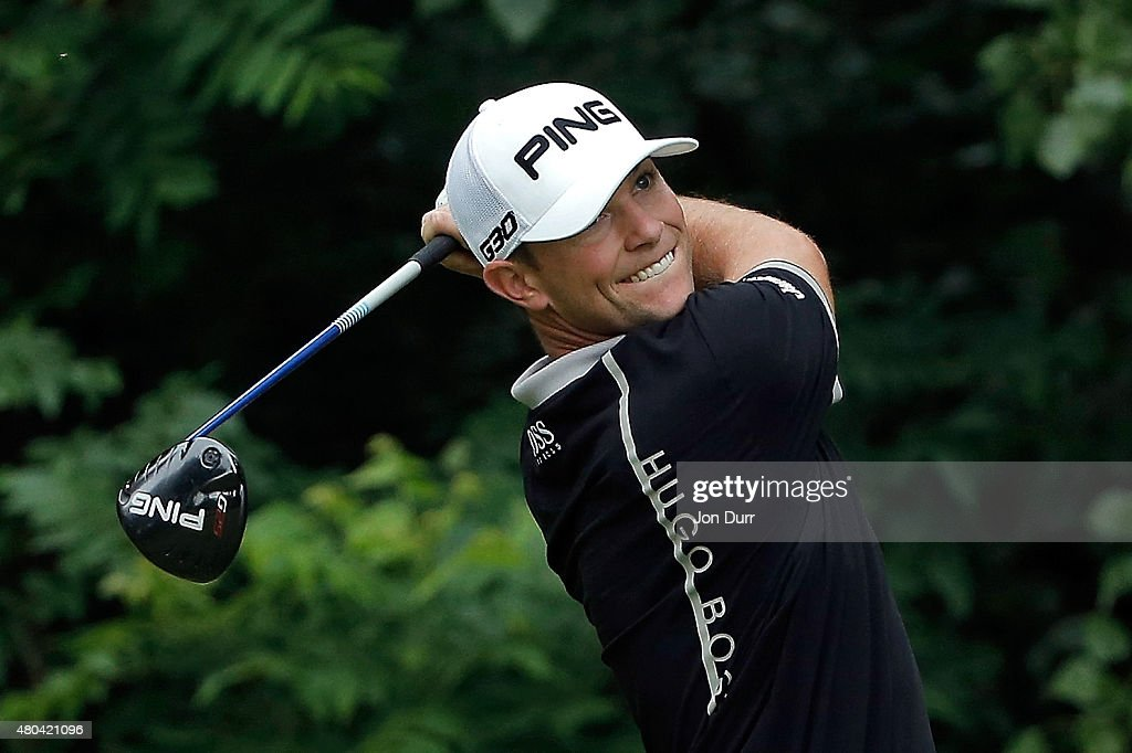 Luke Guthrie tees off on the second hole during the third round of the John Deere Classic held at TPC Deere Run on July 11, 2015 in Silvis, Illinois.