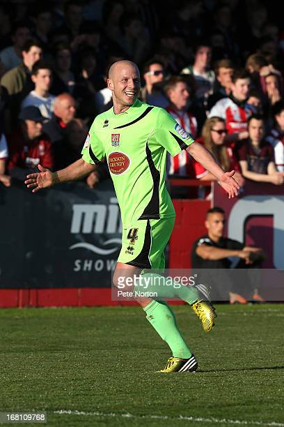 Luke Guttridge of Northampton Town celebrates after scoring his team's first goal during the npower League Two Play Off Semi Final Second Leg between...
