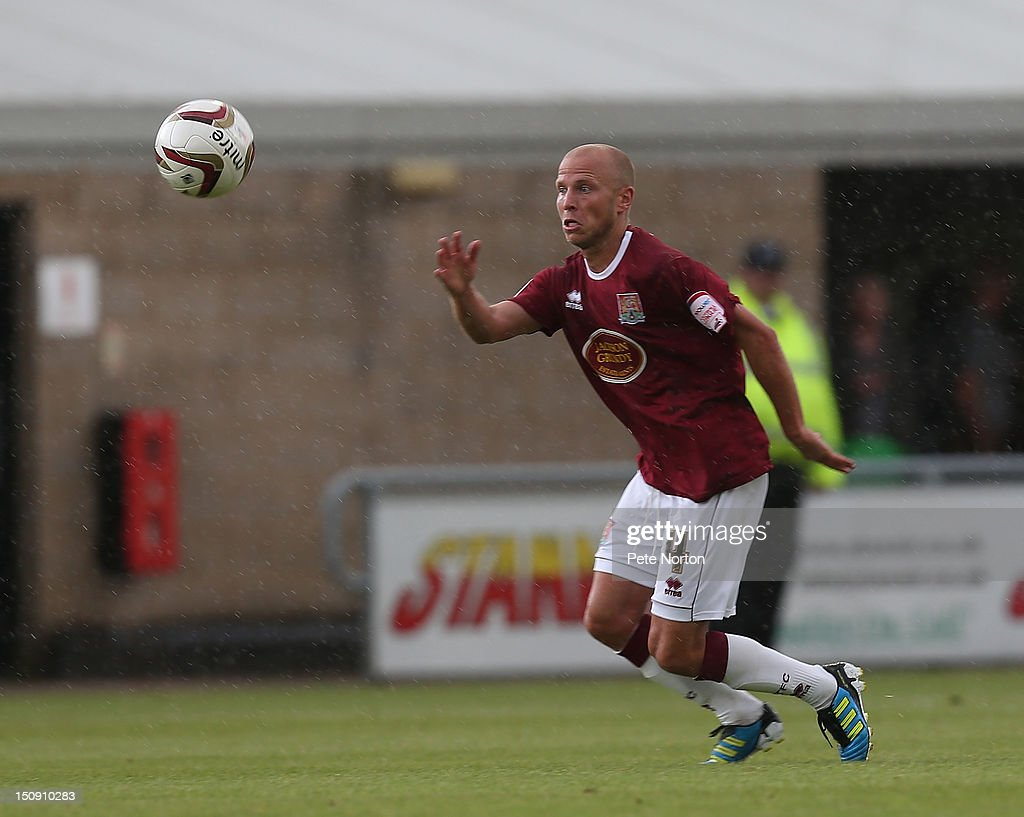 Luke Guttridge of Northampton Town in action during the npower League Two match between Northampton Town and Southend United at Sixfields Stadium on August 25, 2012 in Northampton, England.