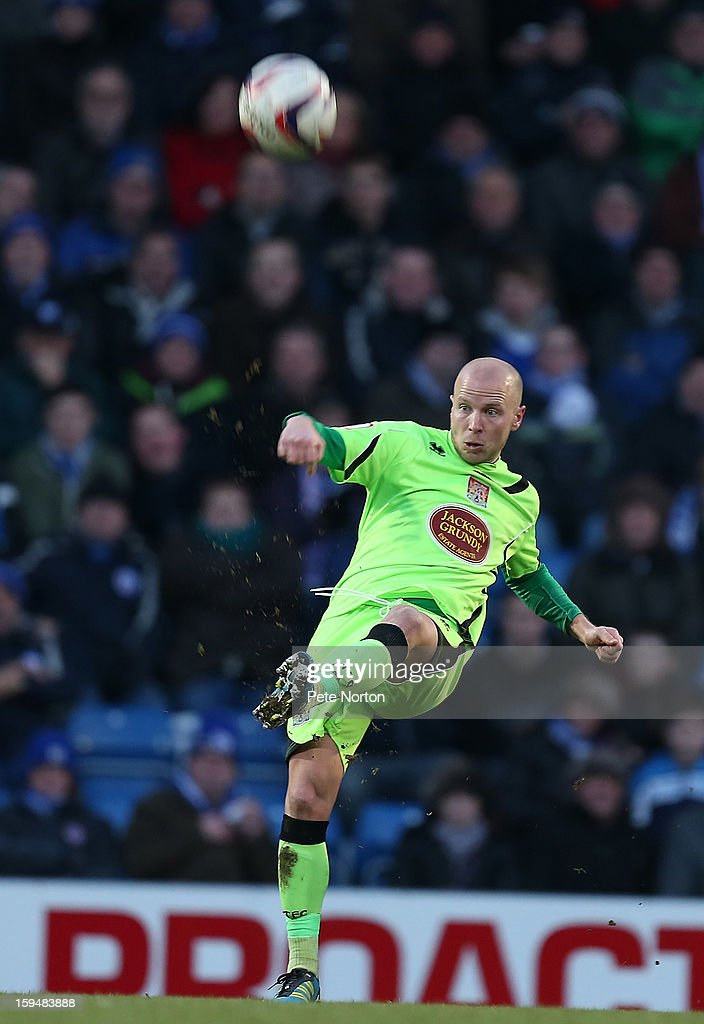 Luke Guttridge of Northampton Town in action during the npower League Two match between Chesterfield and Northampton Town at the Proact Srtadium on January 12, 2013 in Chesterfield, England.