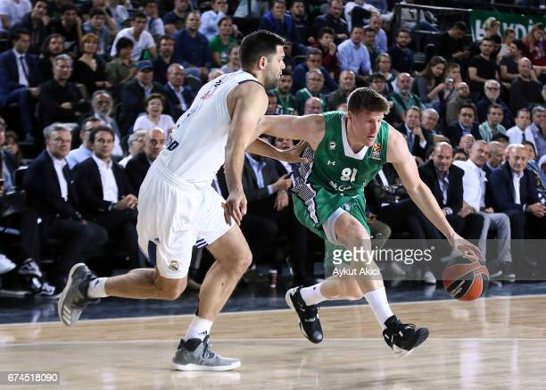 Luke Harangody #81 of Darussafaka Dogus Istan in action during the 2016/2017 Turkish Airlines EuroLeague Playoffs leg 4 game between Darussafaka...
